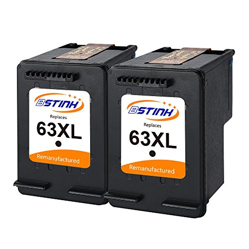 BSTINK Remanufactured Ink Cartridge Replacement for HP 63 XL 63XL (2 Black) for HP DeskJet 1112 2132 3632, Envy 4520 4516, Officejet 3830 3833 4650 Printer Shows Accurate Ink Level High Yield by BSTINK