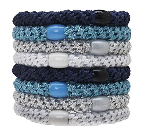 L. Erickson Grab & Go Ponytail Holders, Blue Glow, Set of Eight - Exceptionally Secure with Gentle Hold