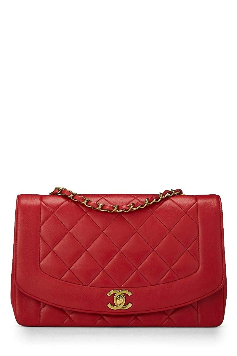 60cff8b69e3f CHANEL Red Quilted Lambskin Diana Flap Medium (Pre-Owned)  Handbags   Amazon.com