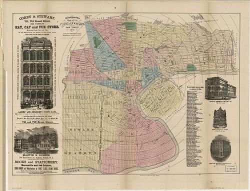 1876 Map Holbrook's map of the city of Newark, New Jersey. - Size: 18x24 - Ready to Frame - East - Holbrook Review