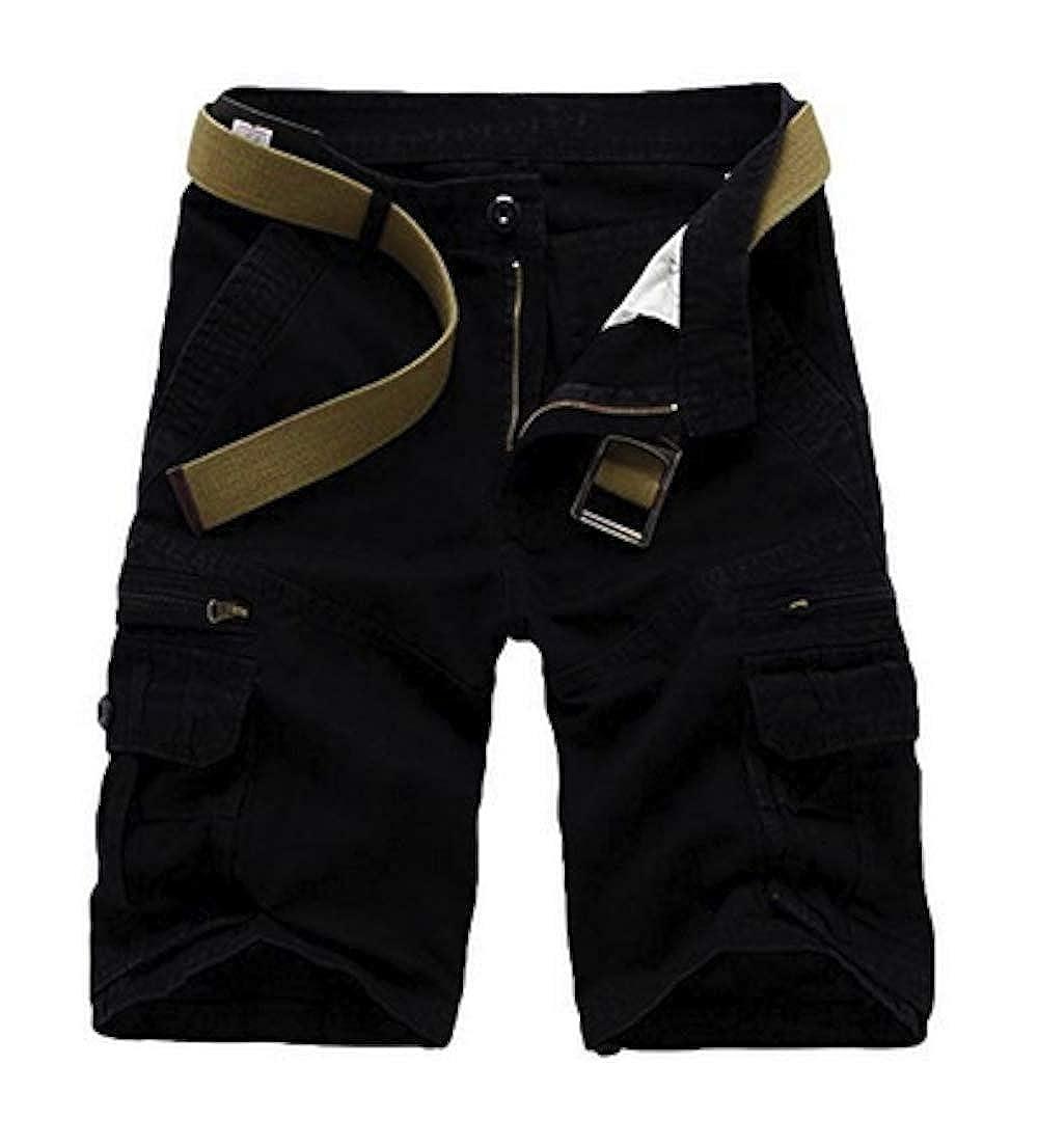 Elonglin Herren Shorts Cargoshorts Bermuda Kurz Hose Vintage Multi Taschen Short Freizeithose Einfarbig Knielang ohne Gr/ürtel