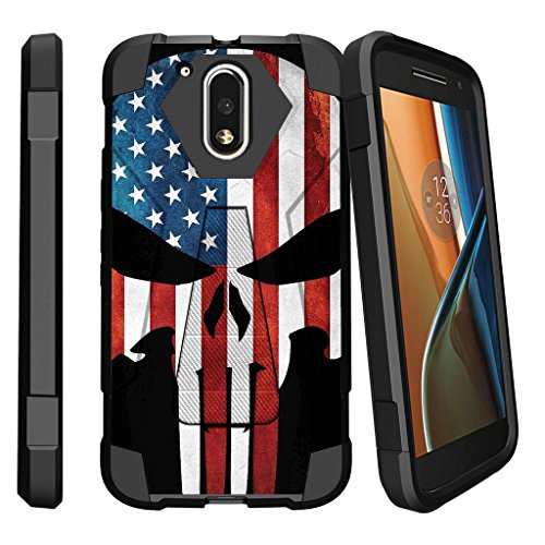 Case for Moto G4 Plus , Moto G (4th Gen) [SHOCK FUSION] Shockproof Hybrid Kickstand Case for Moto G Play Case with Kickstand by MINITURTLE - American Flag Skull (Moto Case Cell Phone G Camo)