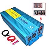 LVYUAN Car Caravan RV Camping Boat 2000W / 4000W (Peak) Pure Sine Wave Power Inverter DC 12V Inverter Soft Start 12V DC to AC 110V DC 12V Inverter Converter with LCD Display