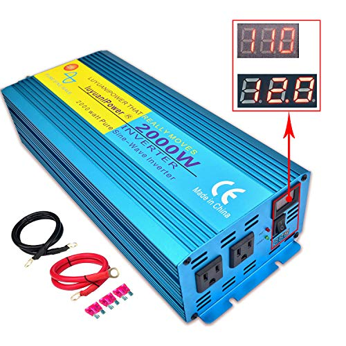 LVYUAN Pure Sine Wave Power Inverter 2000W / 4000W (Peak) Car Caravan RV Camping Boat DC 12V Inverter Soft Start 12V DC to AC 110V DC 12V Inverter Converter with LCD Display
