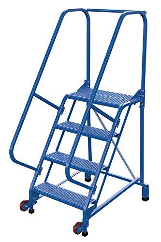 Vestil LAD-TRN-60-4-P Tip-N-Roll Ladder, Perforated, 4 Step, 58 Degree, Blue ()
