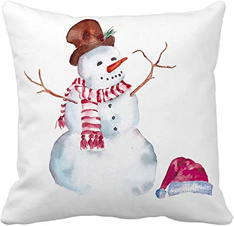 Amazon Com Royalours Pillow Covers Super Soft Christmas Snowman Throw Pillow Covers Xmas Party Home Decor Pillowcase Cushion Cover 18 X 18 Inches Snowman Home Kitchen