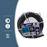 Southwire 63950021 25' 6/3 with ground Romex brand SIMpull residential indoor electrical wire type NM-B, Black