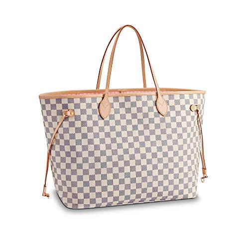 Neverfull Style Canvas Woman Organizer Handbag Azur Tote Shoulder Fashion Bag GM (Large) Size With Rose Ballerina Lining by LAMB (Fake Handbags Louis Vuitton)