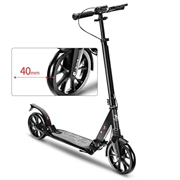 LJHBC Patinete Scooter Adulto Altura Ajustable Fácil de ...