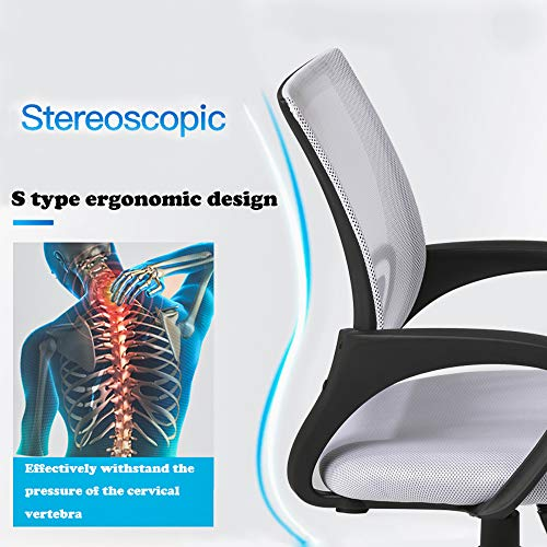 Ergonomic Office Chair Cheap Desk Chair Mesh Computer Chair Back Support Modern Executive Adjustable Rolling Swivel Chair for Women, Men White