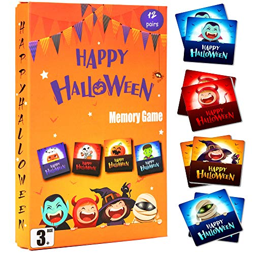 Halloween Themed Scavenger Hunt (Happy Storm Halloween Party Games Memory Match Game for Kids 3 and Up Halloween Classroom Games Activities 12 Matching Pairs Card Games Fun Matching)