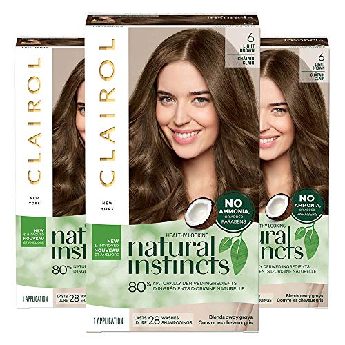 Clairol Natural Instincts, Pack of 3, 6 Light Brown