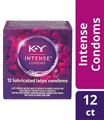 K-Y Me & You Intense Ultra Thin Latex Condoms- Water Based Lube, Intensifying Tingling Sensation For Her and Natural Fit For Him, Ribbed With Reservoir Tip, HSA Eligible, 12 Count