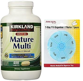 Kirkland Signature adultos, 50 más madura Multi vitaminas y minerales, cuenta de 400 tabletas