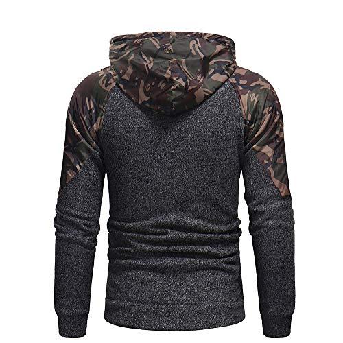 Coat con Splicing Autunno cappuccio Felpa Aimee7 Jacket Tops Camouflage Uomo wagAqz