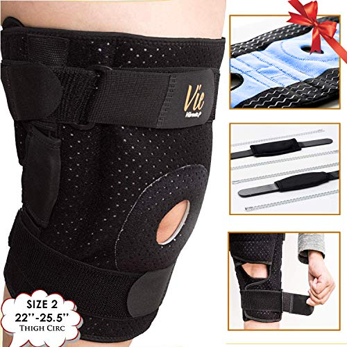 Hinged Knee Brace Plus Size - Newly Engineered Knee Braces with Enhancement on Flexibility, Extra Supportive, Non-Slip and Non Bulky - Wrap Around fit Larger Legs for Men Women 22-25.5 Vie Vibrante