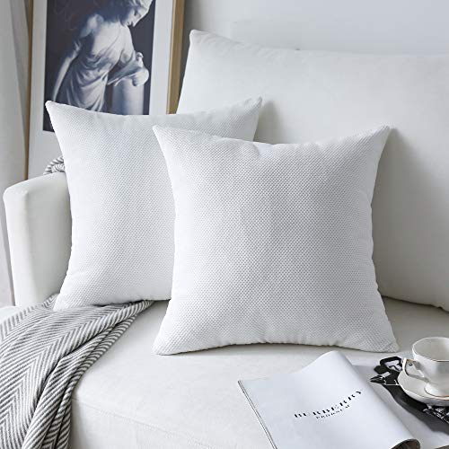 NATUS WEAVER 2 Pc Decor Supersoft Waffle Velvet Corduroy Decorative Throw Toss Pillowcase Check Cushion Cover for Chair, White, (45 x 45 cm, 18 inch)
