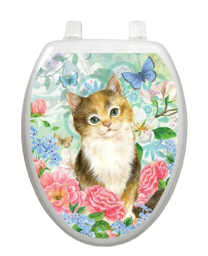 Soft Kitty Toilet Tattoo TT-1092-O Elongated Pet Cat Kitten by Toilet Tattoo