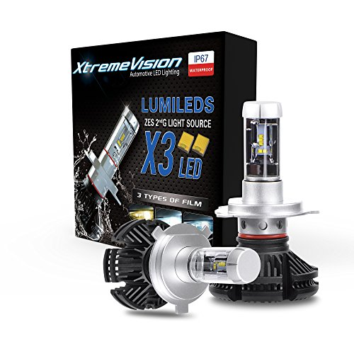 XtremeVision X3 50W 12,000LM - H4/9003 Dual Beam LED Headlight Conversion Kit - 3000K 6500K 8000K ZES LED - 2018 Model