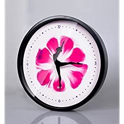 12-Inch Non-Ticking Silent Wall Clock With Modern and Nice Dancing Design For Living Room Large Kitchen, Metal Frame Round Wall Clock Battery Operated (Rose, Black)