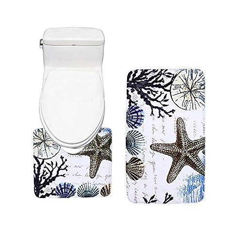 Amagical Colorful Sea Shells Design Bath Mat Set 2 piece Toilet Rug Bathroom Contour Mat (Men Bathroom Rug Set)