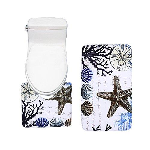 Amagical Colorful Sea Shells Design Bath Mat Set 2 Piece Toilet Rug Bathroom Contour ()