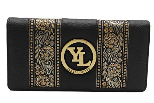 yl-womens-genuine-leather-clutch-wallet-purse-hipster-embroidery-lace-black
