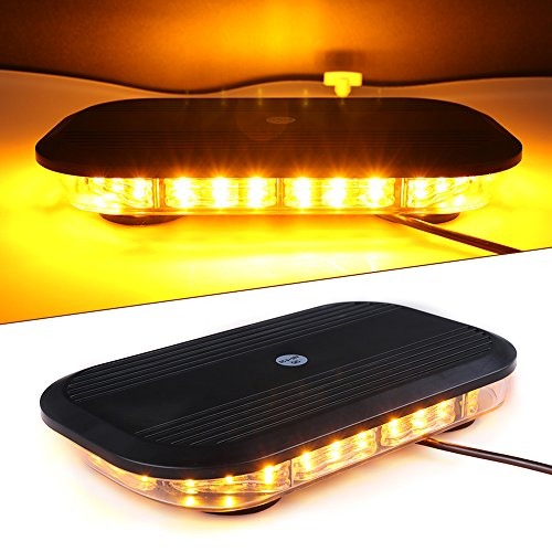 Lighter Slim Led (Primelux 12-inch 30x3W Automotive Linear LED Mini Bar - Emergency Hazard Beacon Caution Warning Strobe Lights with Magnetic Base for Truck Car Vehicle Law Enforcement Snow Plow (Amber/Amber))