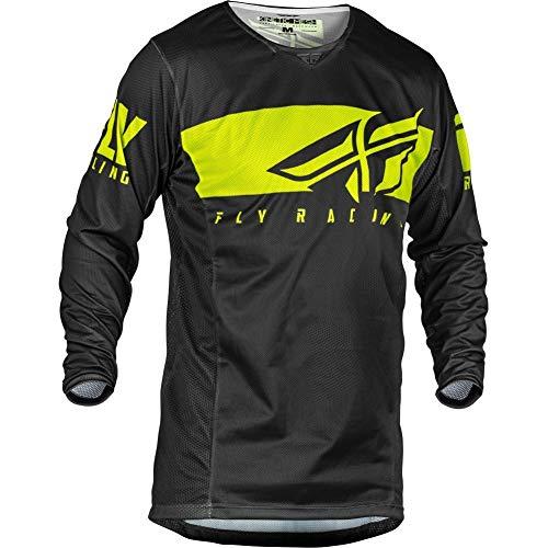 (Fly Racing 2019.5 Kinetic Mesh Shield Youth XL Motocross Jerseys - Gray/Yellow)