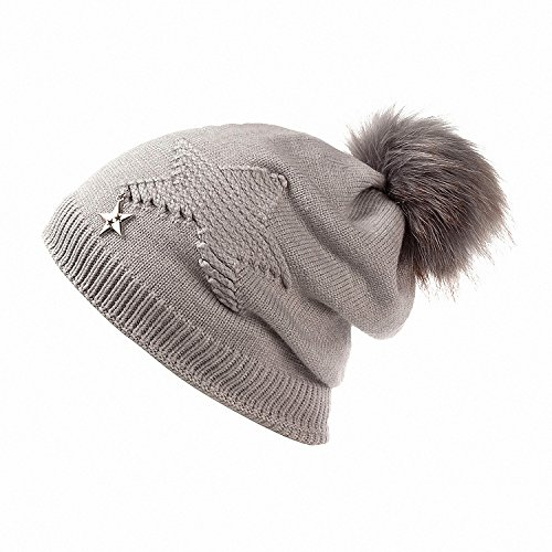 Drawingo Newest Women Soft Winter Hat and Neck Collar Scarf Five Star Knitted Hat Fashion Pomspoms Hats for Women Add Fur Warm Beanie Cap