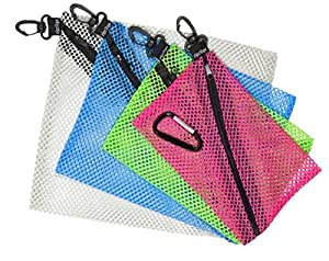 4 ZipClikGo Attachable Mesh Organizer Bags, No Fumbling, Guessing What's Where! These Multi-Purpose Storage Zip Pouches in 4 Sizes & 4 Colors Are Simple to Pack, Easy to Access & Best Bag Companions!