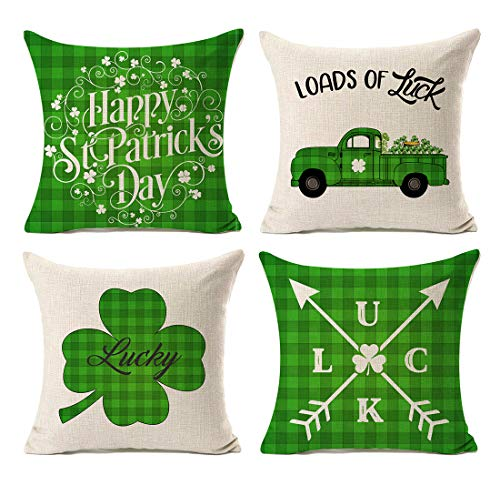 Kithomer Set of 4 St. Patricks Day Throw Pillow Case Green Buffalo Plaids Truck Farmhouse Decor Cushion Covers Square 18x18 Inch Home Decorations -