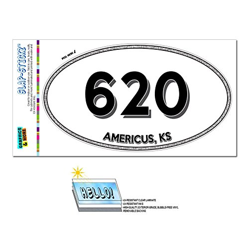 Graphics and More Area Code Euro Oval Window Laminated Sticker 620 Kansas KS Abbyville - Crestline - Americus
