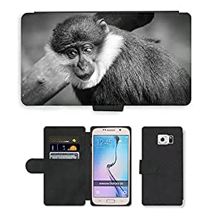 PU LEATHER case coque housse smartphone Flip bag Cover protection // M00134762 Mono Retrato Lo sentimos Animal salvaje // Samsung Galaxy S6 (Not Fits S6 EDGE)