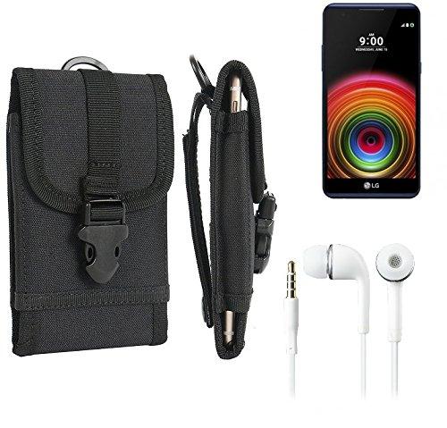 bolsa del cinturón / funda para LG Electronics X Power, negro + Auriculares | caja del teléfono cubierta protectora bolso - K-S-Trade (TM)
