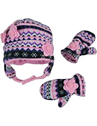 Little Girls and Baby Fair Isle Fleece Hat and Mittens Set