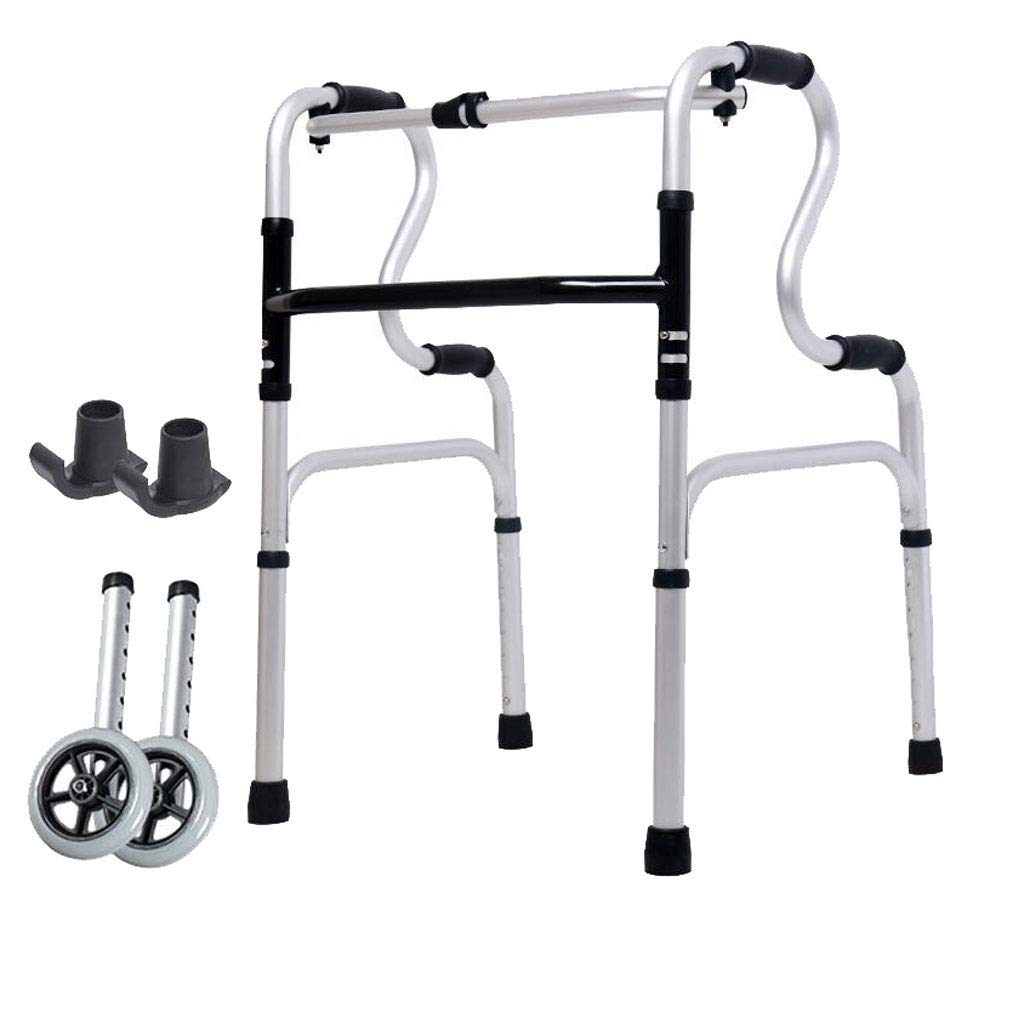 XXHDEE Wheeled Walker Four-Legged Stick for The Elderly Disabled Walker Aluminum Double Armrest 46cm×52cm×74cm Walking aids by XXHDEE