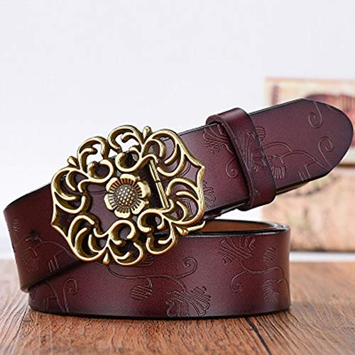 Zhao Xiemao Ladies Waist Belt Classic Embossed Leather Belt Retro Belt Ladies Wide Simple Student Casual Pants Belt Womens Belt Solid Color Pin Buckle (Color : Brown)