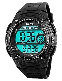 Digital Sports Watch Water Resistant Outdoor Electronic Waterproof LED Military Big Face Back Light Black Men's Wristwatch1203