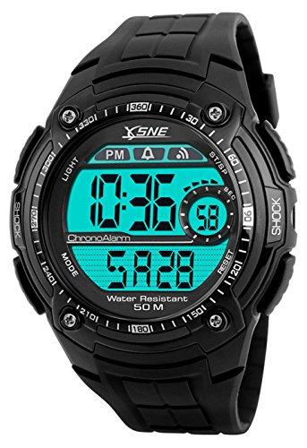Digital Sports Watch Electronic Waterproof LED Military Black Men's Wristwatch (black)
