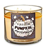 Bath and Body Works Vanilla Pumpkin Marshmallow Candle - Large 14.5 Ounce 3-wick Limited Edition Fall Pumpkin Cafe