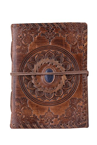 Making Memories Embossed Leather - ADIMANI Antique Handmade Leather Bound Daily Notepad For Men & Women Unlined Paper Medium 7 x 5 Inches, Best Gift for Art Sketchbook, Travel Diary
