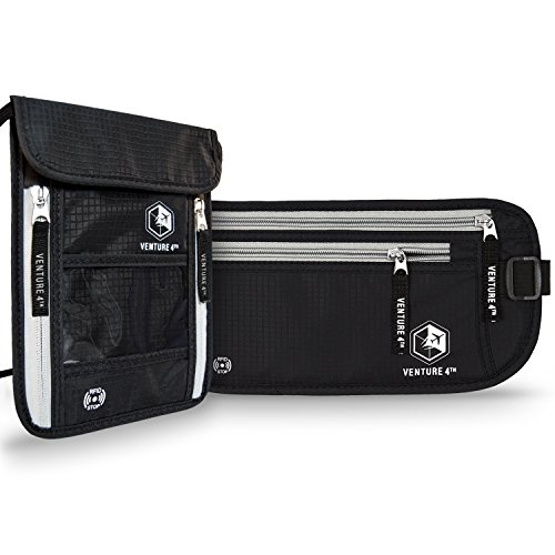 Blk Twin Pack (RFID Blocking Money Belt Travel Wallet and Neck Pouch Passport Holder Twin Pack to keep your Cash Safe when Traveling Safety Stash Collection (Black Neck Pouch + Black Money Belt))