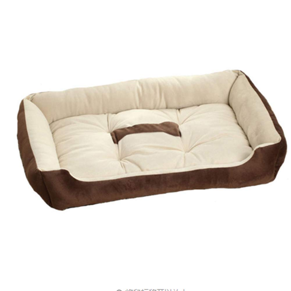 Brown Deluxe Bolster Pet Bed for Dogs & Cats Anti-Slip Matress for Small Medium Dogs and Cats Perfect for Kennels Or Crates 60  45  15Cm,Brown