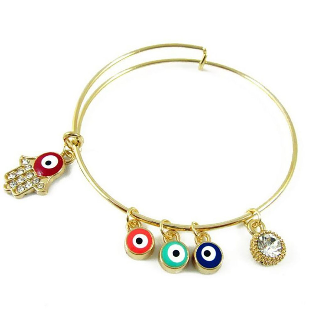 MIXIA Retro Crystal Inspirational Engrave Expendable Wire Bracelets Bangles Fatima Hand /&Evil Eye Charm Vintage Jewelry Gifts