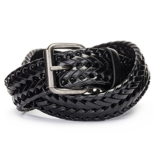 Tanpie Fashion Men's Braided Belt Leather Strap for Jeans Black - Woven Hand Black Leather