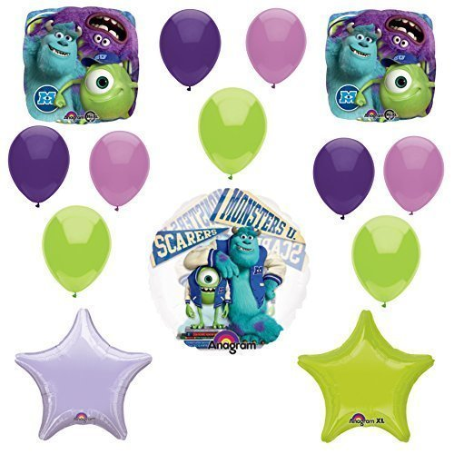 Monsters University, Monsters Inc Balloons - 14 Piece Sully, Mike & Purple Monster Balloons (Sully Monsters)