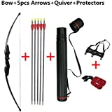 Popshot(TM) 30/40lb Recurve Bow and Arrow Set Compound Kit RH Bow W/ 5 Arrows, Armguard & Quiver for Beginner Shooter
