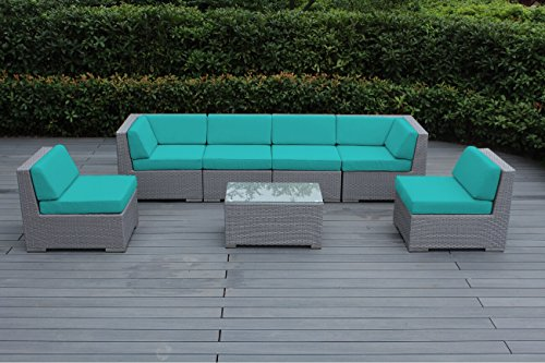 Genuine Ohana Outdoor Patio Wicker Furniture Sectional Coversation 7pc Gray Wicker Sofa Set (Sunbrella Aruba)