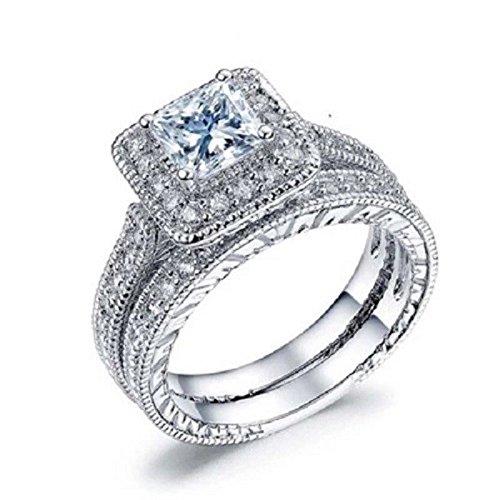 Luxurious Asscher Cut Topaz 925 Silver Wedding Jewelry Set Of Rings Gift SZ 9